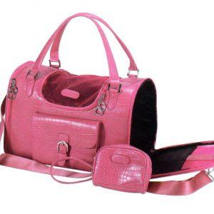Faux Crocodile Pet Carrier - Pink