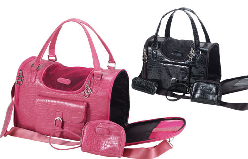 Faux Crocodile Pet Carrier - Pink and Black