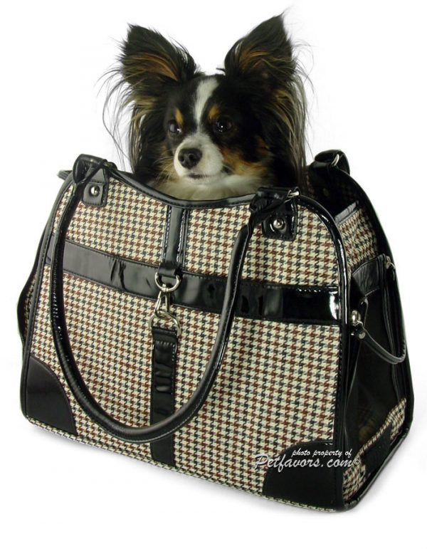 Classic Houndstooth Pet Carrier - Brown