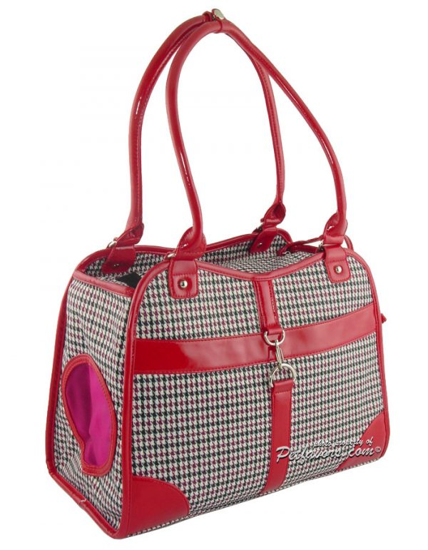 Classic Houndstooth Pet Carrier - Red
