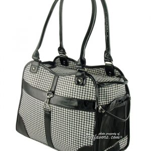Classic Houndstooth Pet Carrier - Black