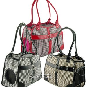 Classic Houndstooth Pet Carriers - Black, Blue and Red