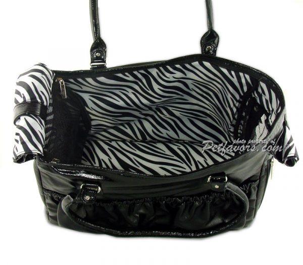 Black Lux Pleather Pet Carrier