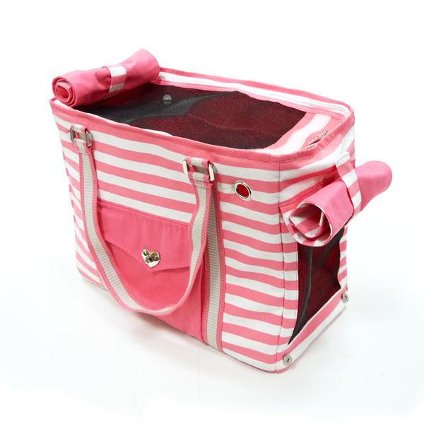 Pink Stripe Tote Pet Carrier