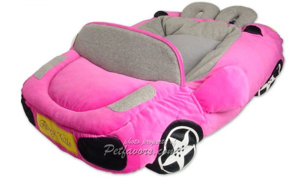 Furry Tails Sportscar Pet Bed - Hot Pink