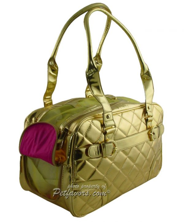 Gold Quilted Pet Carrier