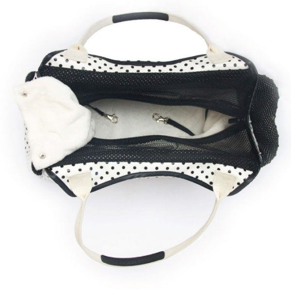 Sugar Dots Pet Carrier - White with Black Dots