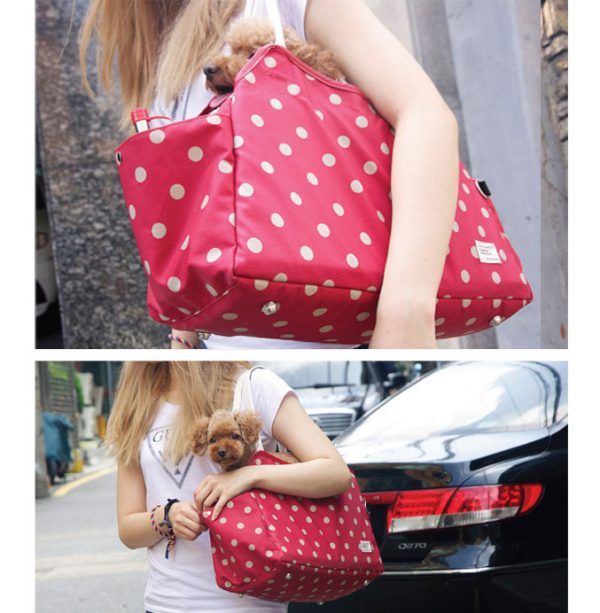 Sugar Dots Pet Carrier - Dusty Red Rose with Tan Dots