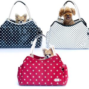 Sugar Dots Pet Carrier - Blue, Dusty Red Rose and White
