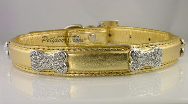Metallic Crystal Bone Collar - Gold