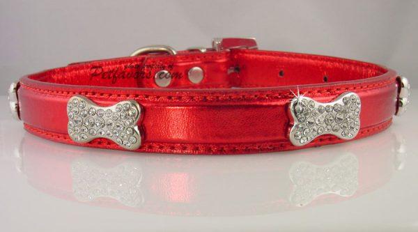 Metallic Crystal Bone Collar - Red