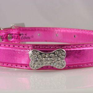 Metallic Crystal Bone Collar - Pink