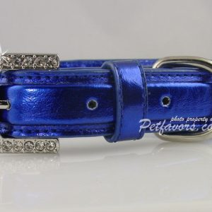 Metallic Crystal Bone Collar - Blue