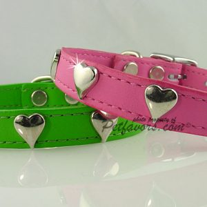 Soft Leather Collar with Silver Hearts