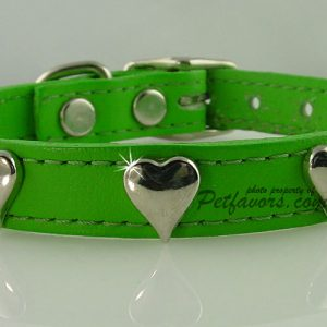 Soft Leather Collar with Silver Hearts - Green