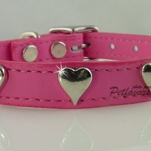 Soft Leather Collar with Silver Hearts - Pink