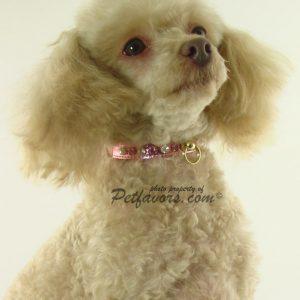 Metallic Deluxe Dog Collars - Baby Pink