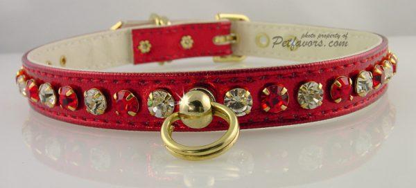 Metallic Deluxe Dog Collars - Red