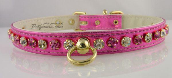 Metallic Deluxe Dog Collars - Hot Pink