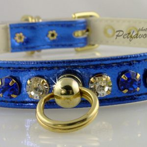 Metallic Deluxe Dog Collars - Blue
