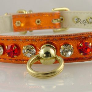 Metallic Deluxe Dog Collars - Orange