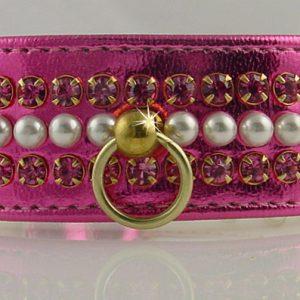 Metallic Mini Pearl Dog Collar - Pink