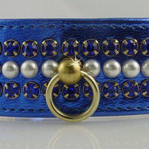 Metallic Mini Pearl Dog Collar - Blue
