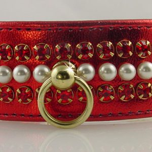 Metallic Mini Pearl Dog Collar - Red