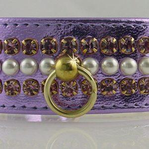 Metallic Mini Pearl Dog Collar - Purple
