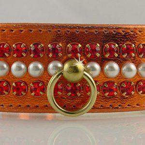 Metallic Mini Pearl Dog Collar - Orange