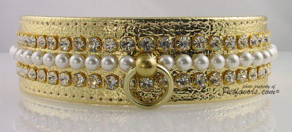 Metallic Mini Pearl Dog Collar - Gold