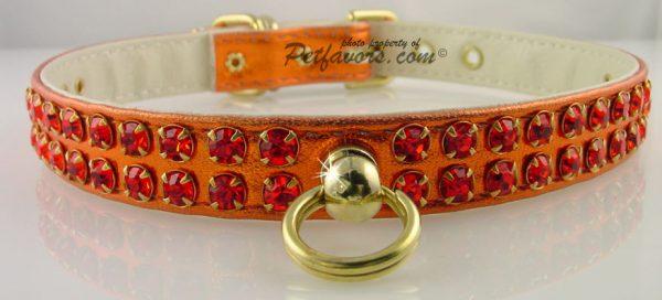 Metallic Swank Dog Collar - Orange