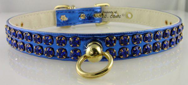 Metallic Swank Dog Collar - Blue