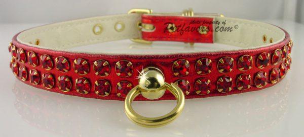 Metallic Swank Dog Collar - Red