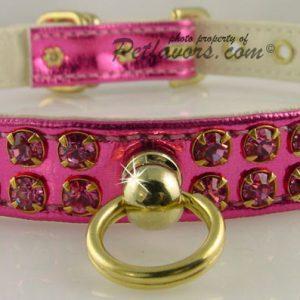 Metallic Swank Dog Collar - Pink