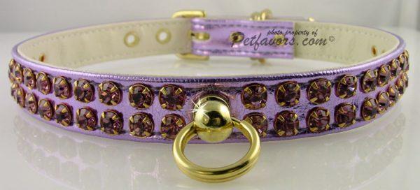 Metallic Swank Dog Collar - Purple
