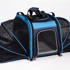 Rear Mounted Bike Pet Carrier with Expandable Sides - Blue