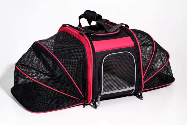 Rear Mounted Bike Pet Carrier with Expandable Sides - Pink
