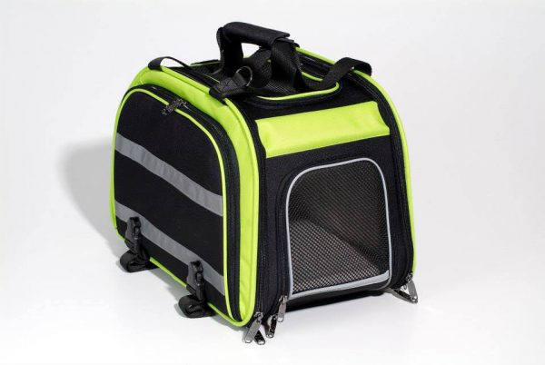 Rear Mounted Bike Pet Carrier with Expandable Sides - Green