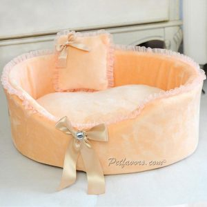 Crystal Bow Pet Bed - Peach