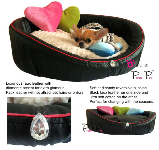 Black Faux Leather Bed with Heart Pillows