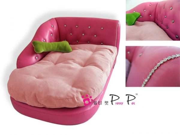 Luxurious Faux Leather Chaise Lounge - Pink