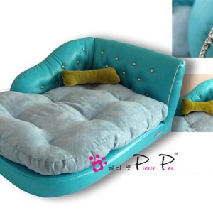 Luxurious Faux Leather Chaise Lounge - Blue