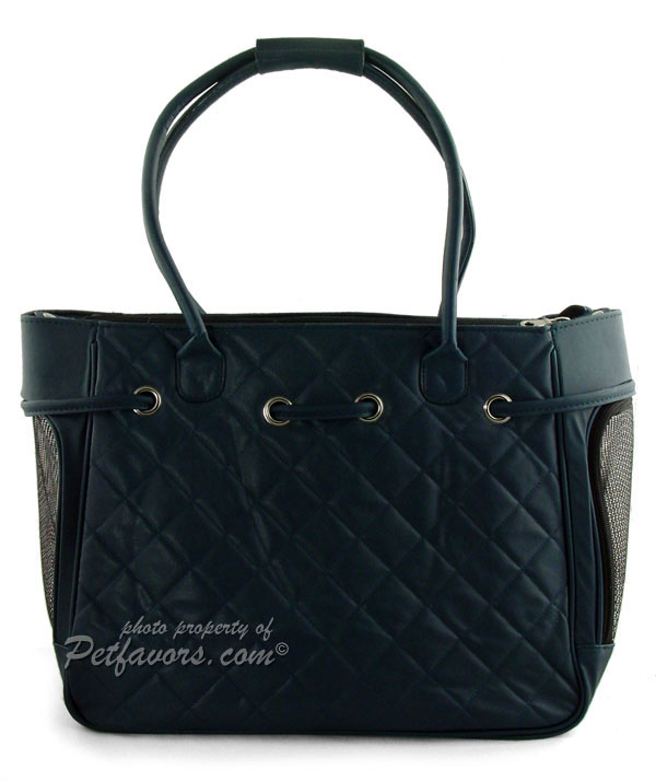 Navy Quilted Pet Carrier