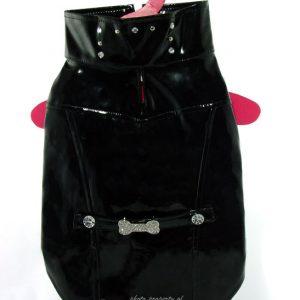 Biker Jacket with Crystal Bone Charm - Black