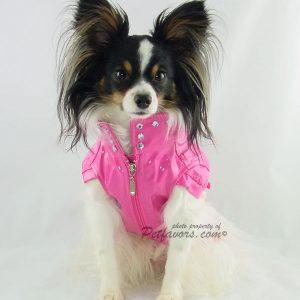 Biker Jacket and Matching Leash set - Pink