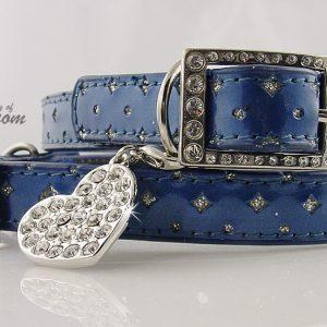 Blue Star Glitter Collar and Leash Set