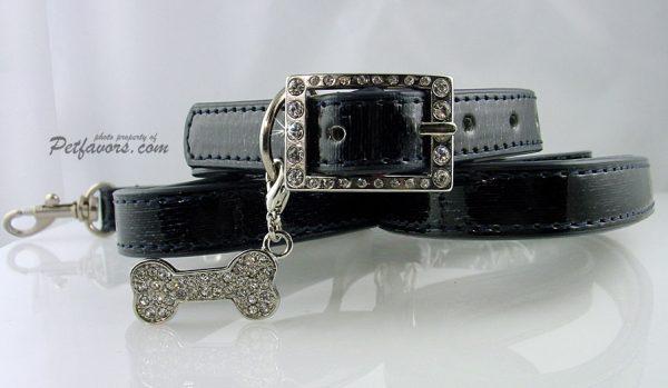 Faux Leather Collar & Leash Set - Black