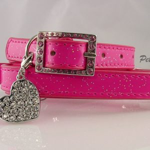 Faux Leather Collar & Leash Set - Pink