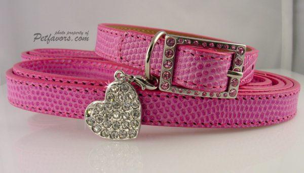 """Lizard"" Collar & Leash Set - Pink"